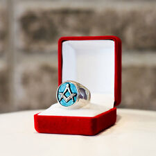 Masonic Silver or Gold Ring - Square and Compass Freemason Men Ring Customizable