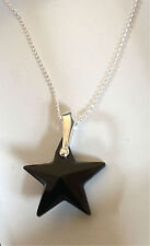 925 Sterling Silver Star Necklace Jet Black Swarovski Elements Pendant Gift