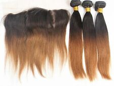 Luxury Brazilian Two Tone Ombre Auburn #30 Straight Hair Extensions + Frontal