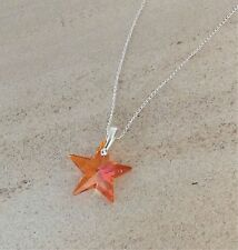 925 Sterling Silver Star Necklace Astral Pink Swarovski Elements Crystal Pendant