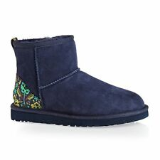 New UGG BNIB £160 Floral Suede Leather Classic Mini Women's Ankle Shoes Boots