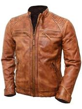 Brown Waxed Vintage Style Retro Leather jacket