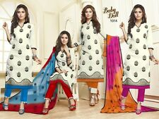 DESIGNER CHURIDAR EMBROIDERED SALWAR KAMEEZ SUIT COTTON DRESS MATERIAL BD1014