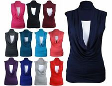 WOMENS LADIES RUCHED GATHERED COWL NECK TOP SLEEVELESS LONG VEST TOP SIZE 8-26