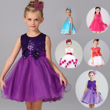 Girls Party Dress Sequinned Formal Wedding Bridesmaid Christmas Princess UKSTOCK