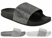 New Womens Diamante Slip On Fashion Comfy Flip Flop Slider Slippers Casual Shoes