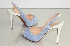 NEW Christian Louboutin Prive Pumps White Blue Seersucker Patent Shoes 39