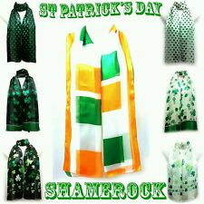 Irish Shamrock Clover print Silky Scarf Wrap Stole St Patrick's Day Event UK
