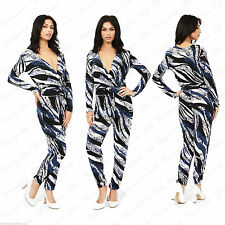 Ladies Women's Blue Printed All In One Celeb Slim Jumpsuit Playsuit All In  8-14