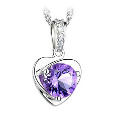 FASHIONS FOREVER® Sterling Silver Shimmer-Heart Cubic-Zirconia Necklace-Pendant