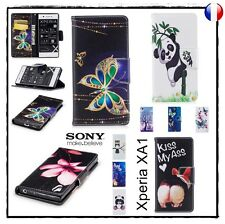 Etui porte cartes coque housse Cuir PU Leather Wallet case cover Sony Xperia XA1
