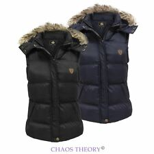 Brave Soul Ladies Womens Quilted Padded Gilet Faux Fur Hooded Jacket Sizes 8-16