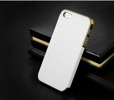 APPLE iPhone 5 5S Luxury LEATHER Chrome Frame Hard Back Case Cover (N-1015)