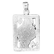 Silver 925 Queen of Hearts Playing Card Pendant - AZ11218-925