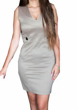 ABITO DONNA DRESS EXTASY BEIGE TUBINO STRETTO LOOK FASHION ROBE ESTATE MADE I...