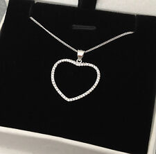 925 Sterling Silver Open Heart Necklace Pendant Chain CZ Micropave UK Seller