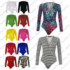 Womens Wrap Over Long Sleeve Plunge V Neck Print Stretch Bodysuit Leotard
