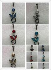 2 Surgical Steel Dangle Playboy Style Bunny & Butterfly Belly Bars Assorted Cols