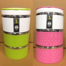 Three Layer Fancy Stainless Steel Lunch Box Amazing Polka Dot Design Tiffin