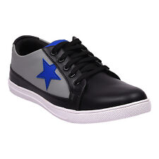 Vedano Black Faux Leather Dance Casual Sneaker Shoes CASA105
