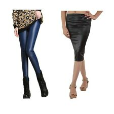 Timbre PU Coated Leather Leggings and Skirt Combo Pack Of 2 Party Wear