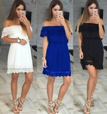 Womens Off-shoulder Bridesmaid Wedding Party Cocktail Lace Maxi Mini Short Dress