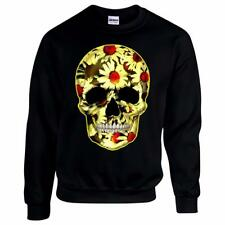 Flower Skull Day Of The Dead Mexican Skull Candy Daisy Gothic Mens Sweatshirt #2