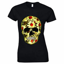 Flower Skull Day Of The Dead Mexican Candy Daisy Gothic Womans T Shirt #2