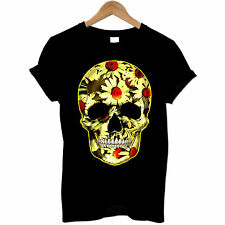 Flower Skull Day Of The Dead Mexican Skull Candy Daisy Gothic Mens T Shirt #2