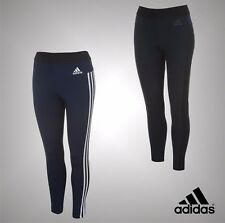 Ladies Genuine Adidas Stretchy Sports Gym Essential 3 Stripe Tights Size 6-22