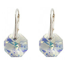 FASHIONS FOREVER® Sterling Silver Octagon Earrings made with SWAROVSKI® Elements