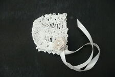 Hand Crocheted Bonnet.Christening Baptism.Cotton.Crocheted Irish Roses & Pearls