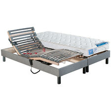 Matelas 100% Latex + Sommier relaxation tapissier gris chiné