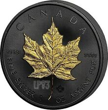 2017 1 Oz Silver GOLDEN ENIGMA MAPLE LEAF Coin, Ruthenium and 24K Gold..