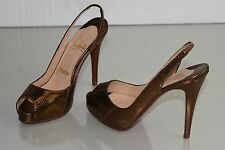 $995 NEW Christian Louboutin N Prive Pumps EXOTIC Bronze SNAKE Shoes 36 40 41