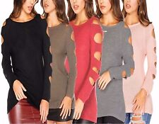 Womens Ladies Cold Shoulder Chunky Knit Cut Out Arms Ripped Sweater Top Jumper