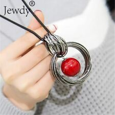 simulated red white pearl ball pendant long necklace women black chain necklace