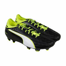 Puma Evotouch 3 Lth Fg Mens Black Leather Athletic Lace Up Soccer Shoes