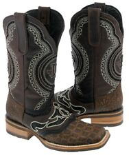 men's rustic brown crocodile belly inlay leather cowboy western overlay boo