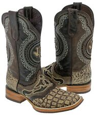 men's sand crocodile belly inlay leather cowboy western overlay boots rodeo