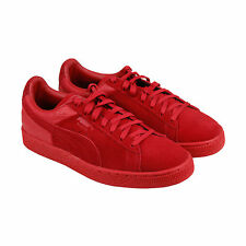 Puma Suede Classic Casual Emboss Mens Red Suede Lace Up Sneakers Shoes