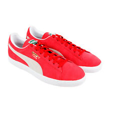 Puma Suede Classic + Mens Red Suede Lace Up Sneakers Shoes