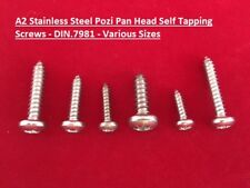 Pozi Pan Stainless Steel Self Tapping Screws A2 No.4, No.6, No.8, No.10, No.12G