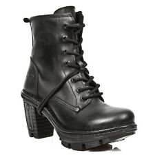 New Rock Women Leather Botas Estilo Motero Metálico Reactor Vintage - M.