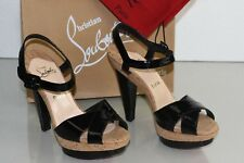 NEW Christian Louboutin LA FALAISE Platform Sandals Patent Black Cork Shoes 41