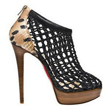 $1785 NEW Christian Louboutin COUSSIN 140 Python Leopard Black Boots Shoes 38