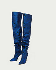 ZARA FLORAL PRINT OVER-THE-KNEE FABRIC HIGH HEEL BOOTS ELECTRIC BLUE 5012/201