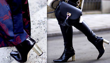 ZARA BLACK REAL LEATHER ANKLE BOOTS WITH GOLD HEEL UK 6 EUR 39 US 8 NEW