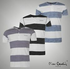 Mens Designer Pierre Cardin Lightweight Striped Henley T Shirt Top Size S-XXL