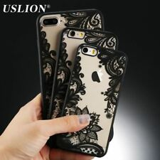 Floral Phone Case For iPhone 7 6 6s 5s SE Lace Flower Hard PC Cases Back Covers